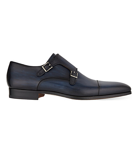 MAGNANNI Leather double monk shoes (Blue