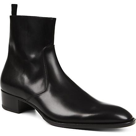 SAINT LAURENT Simple zip-up leather boot (Black