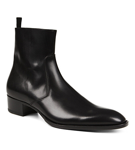 SAINT LAURENT Simple zip-up leather boot (Black