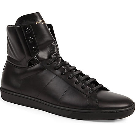 SAINT LAURENT Plain classic hi-top trainers (Black