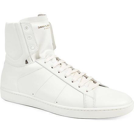 SAINT LAURENT Plain classic hi-top trainers (White