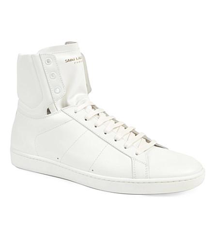 SAINT LAURENT Plain classic hi-top trainers (White