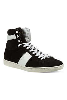 SAINT LAURENT Striped high-top trainers