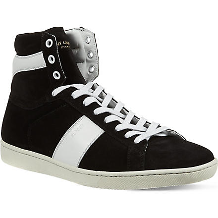 SAINT LAURENT Striped high-top trainers (Black