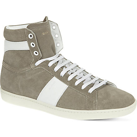 SAINT LAURENT Striped high-top trainers (Grey