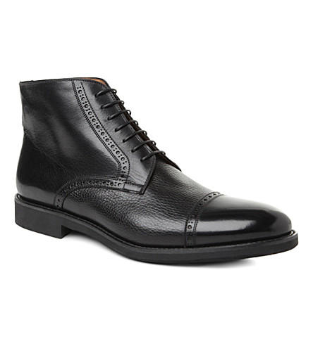 STEMAR Grain Oxford boots (Black