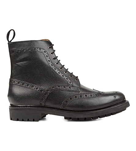 GRENSON Fred commando wingcap boots (Black
