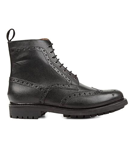 GRENSON Fred commando wingcap boots (Black