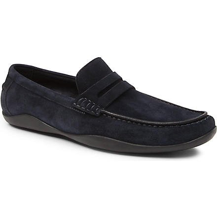 HARRYS OF LONDON Basel suede penny loafers (Navy