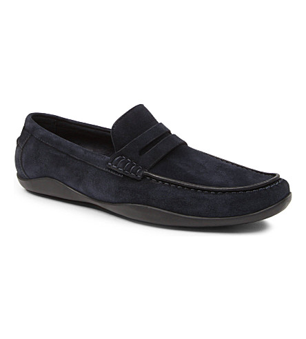 HARRYS LONDON Basel suede penny loafers (Navy