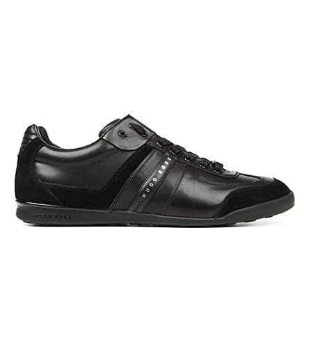 BOSS Aki leather trainers (Black
