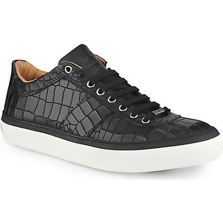 JIMMY CHOO Portman croc-embossed trainers (Black