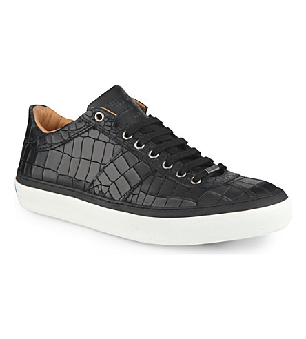 JIMMY CHOO 24/7 Portman croc-embossed trainers (Black