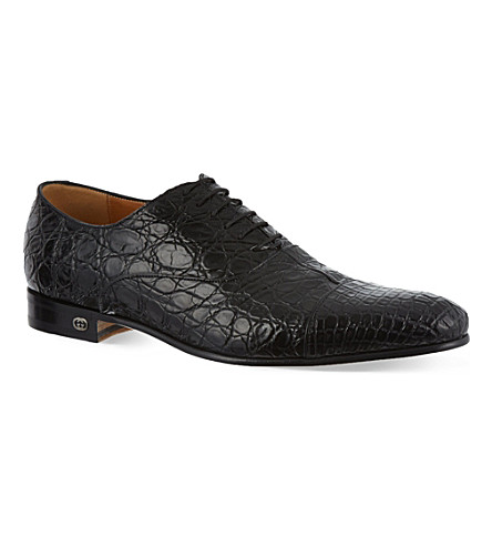 GUCCI Farramir crocodile Oxford shoes (Black