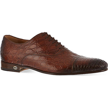 GUCCI Farramir crocodile Oxford shoes (Brown