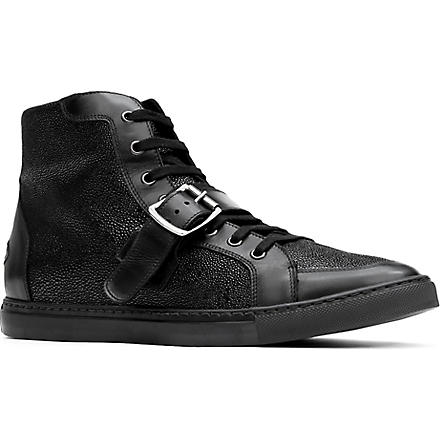 VIVIENNE WESTWOOD Grained leather hi-top trainers (Black