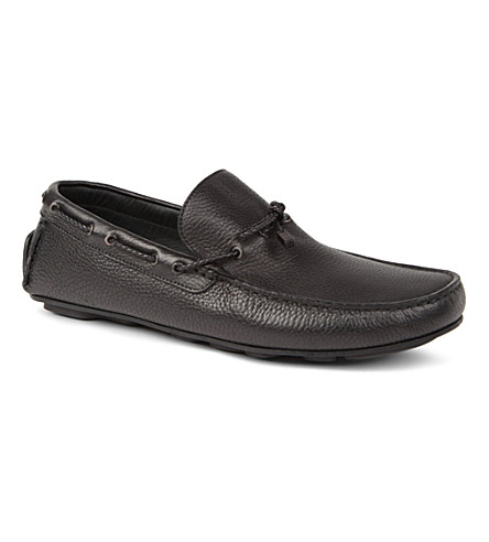 ERMENEGILDO ZEGNA Woven lace driver shoes (Black