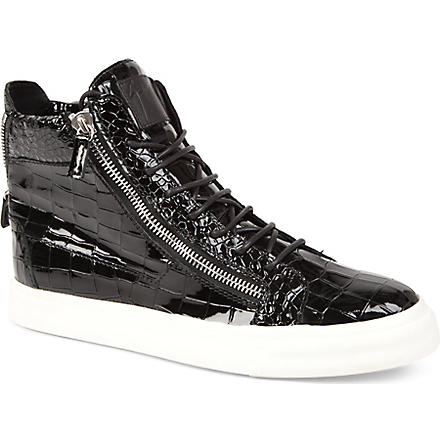 GIUSEPPE ZANOTTI Mock-croc leather high tops (Black