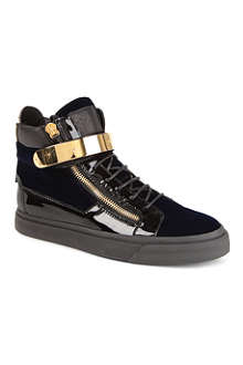 GIUSEPPE ZANOTTI Velvet and patent-leather high tops