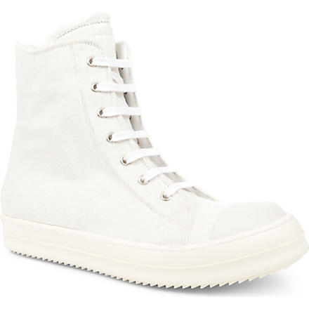 RICK OWENS Ramones zip high-top trainers (White