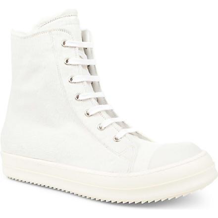 RICK OWENS Ramones zip high-top trainers (White