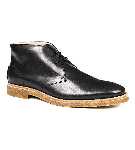 TODS Leather Lace-up Ankle Boots (Black