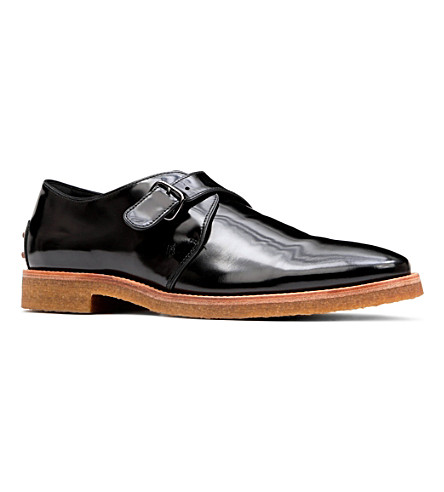 TODS Crepe patent-leather monk-strap shoes (Black