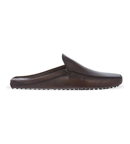 TODS Backless gommino driving shoes in leather (Brown