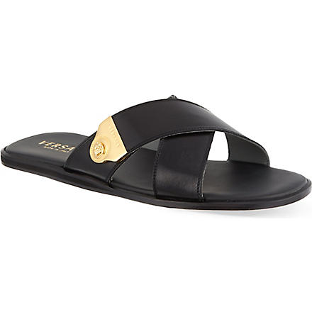 VERSACE Crossed leather sandals (Black
