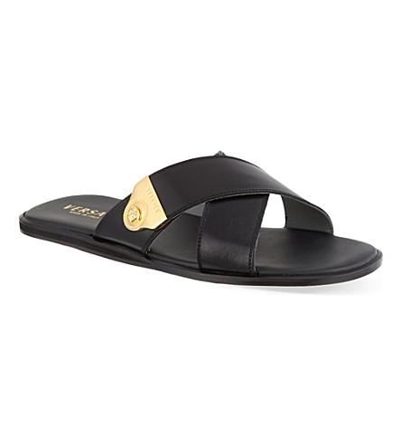 VERSACE Crossed leather sandals (Black