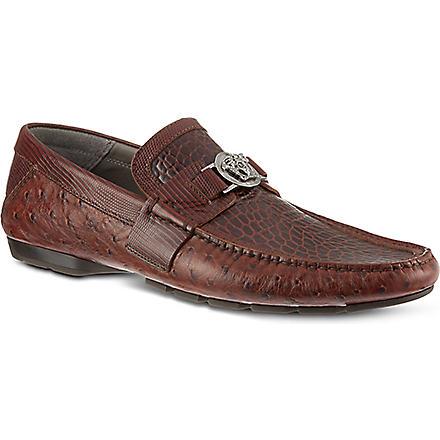 VERSACE Medusa print driving shoes (Brown
