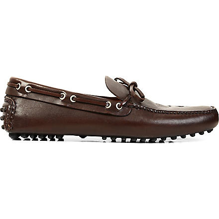 CARSHOE Classic tie leather driver shoes (Brown