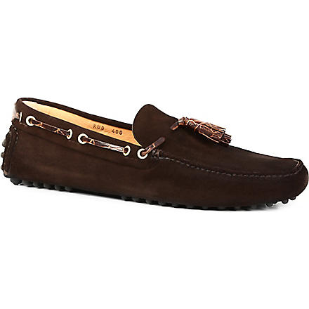 CARSHOE Suede printed-tassel driver shoes (Brown