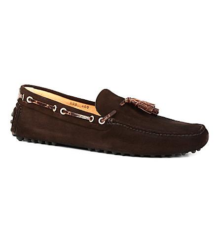 CARSHOE Suede printed-tassel driver shoes (Brown