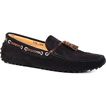 CARSHOE Suede printed-tassel driver shoes (Navy