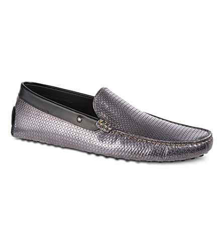 TODS Gommino Driving Moccasins (Silver