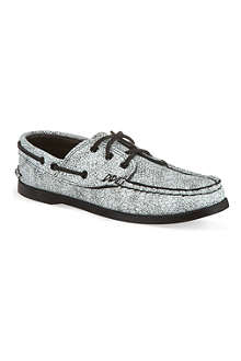 YUKETEN White leather boat shoe