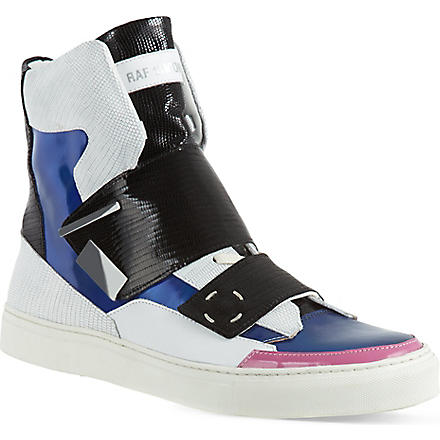 RAF SIMONS Combo Flap high-top trainers (White/comb