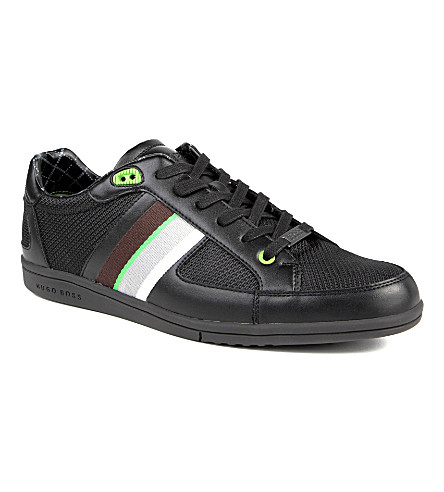 HUGO BOSS O'Shea leather and textile trainers (Black