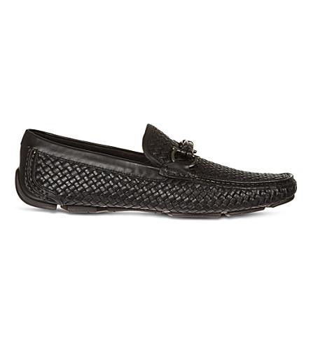 SALVATORE FERRAGAMO Woven leather driving shoes (Black