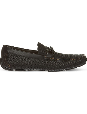 FERRAGAMO Woven leather driving shoes