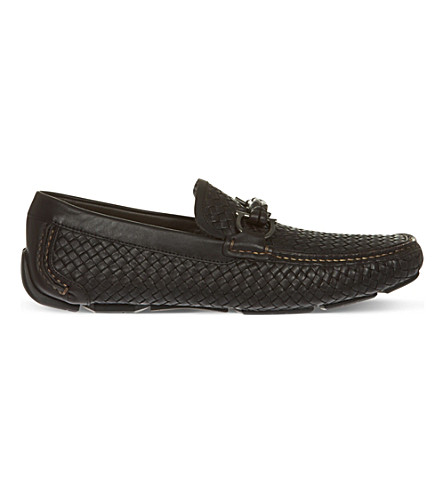 FERRAGAMO Woven leather driving shoes (Brown