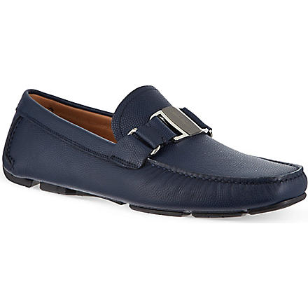 FERRAGAMO Sardenga buckle driving shoes (Navy