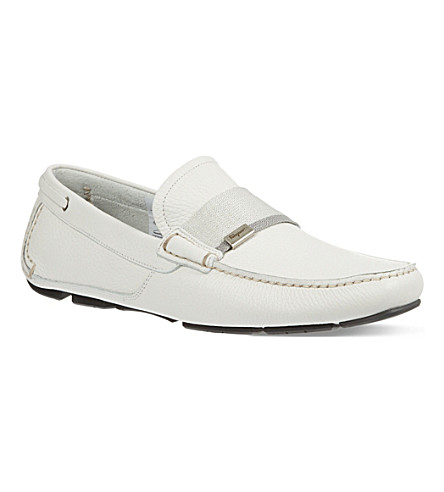 FERRAGAMO Rio web driver shoes (White