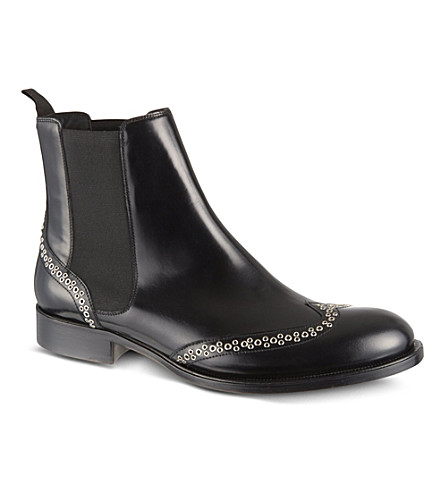 D SQUARED Studded leather chelsea boots (Black