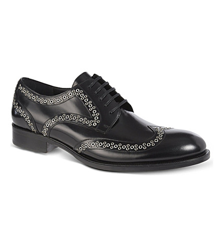 D SQUARED Stud wingcap derby shoes (Black