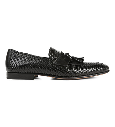 STEMAR Woven-leather penny loafers (Black