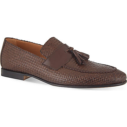 STEMAR Woven-leather penny loafers (Brown