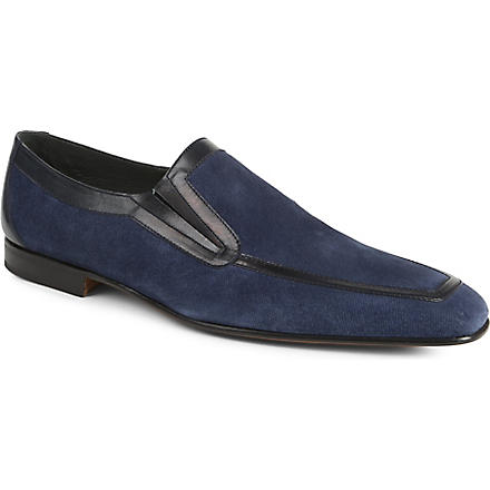 STEMAR Denim leather-trimmed loafers (Navy