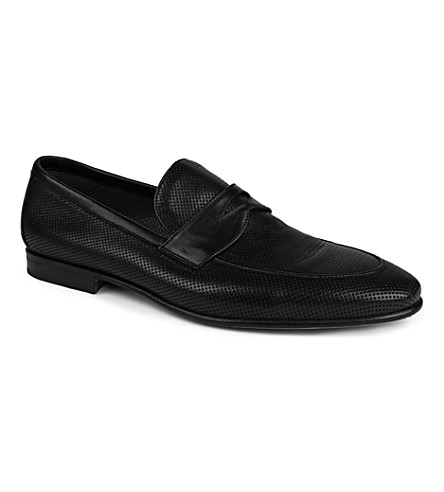 STEMAR Perforated leather penny loafers (Black